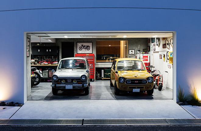 大阪・堺のガレージハウス ガレージ正面から見る