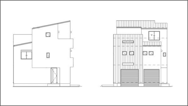 神戸・東灘区のガレージハウス立面図