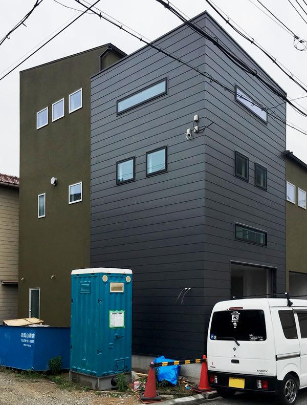 神戸・東灘区のガレージハウス 工事途中の外観
